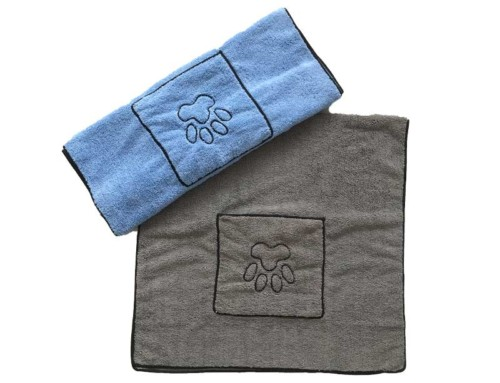 Embroidered paw dry pet towel pet towels uk with pocket