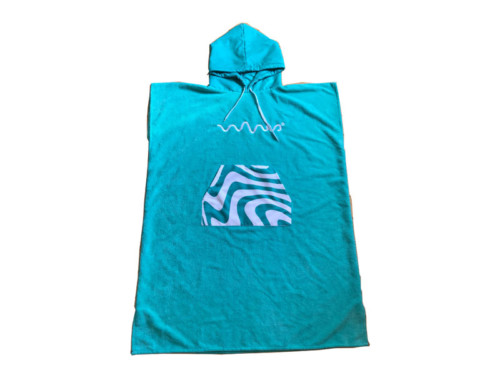 Sleeveless microfiber adult poncho with hoodie and pocket