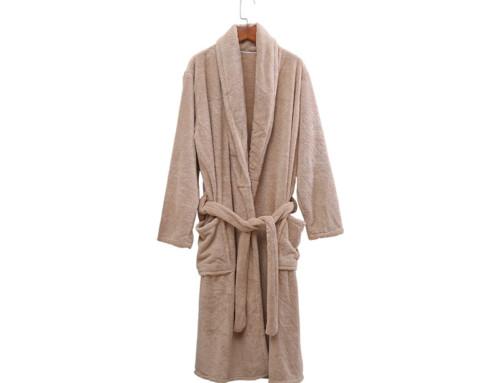 Soft coral fleece microfiber bathrobe with collar manufacturer