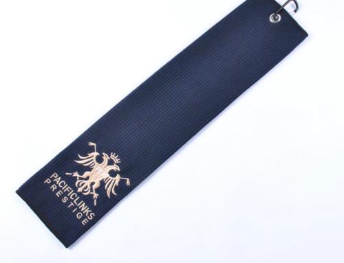 Tri fold black waffle titleist golf towel personalized embroidery logo cobra golf towel