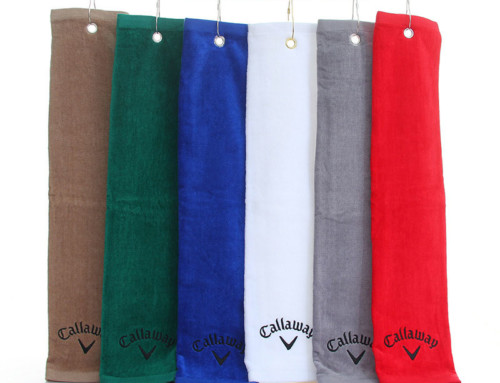 Trifold velour cotton cleveland golf towel unique 40x60cm oakley golf towel with hook
