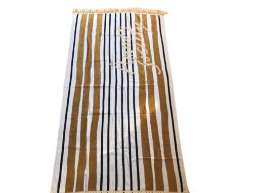 Unique striped velour cotton beach towel with tassels